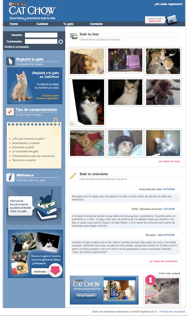 Comunidad para los fanáticos de sus gatos