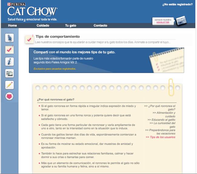 Vista parcial de sección para leer y subir Tips de Comportamiento.