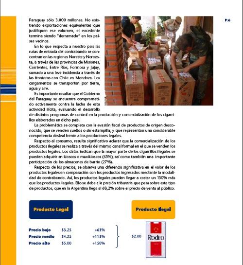 Nota interior del informe de contrabando, página 6.