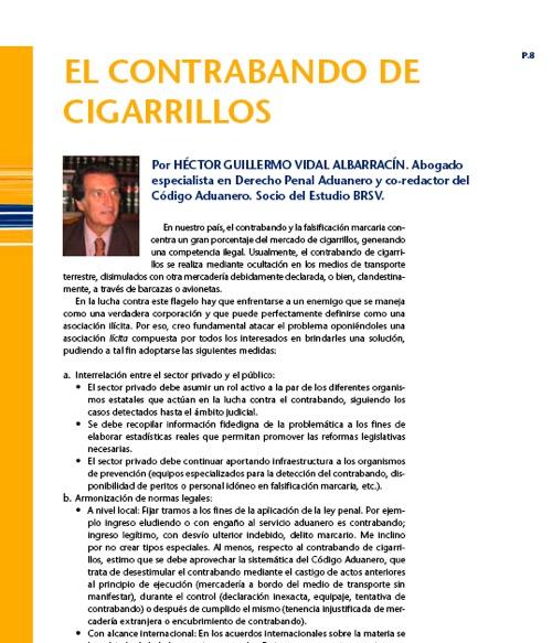 Columna de uno de los especialistas convocados para redactar una columna sobre el tema de contrabando, página 8.