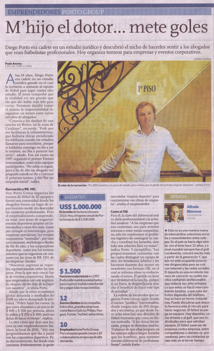 Porto Group en el diario Clarín