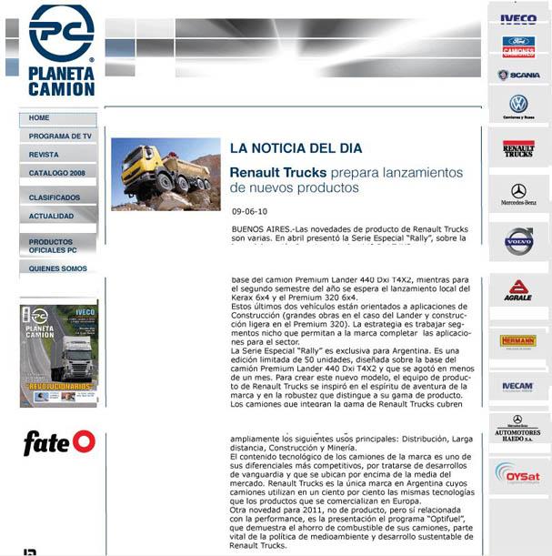 Sitio de Internet Planeta Camión