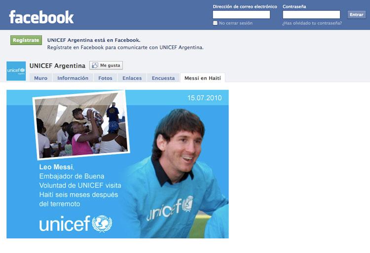 Junto a UNICEF y Messi