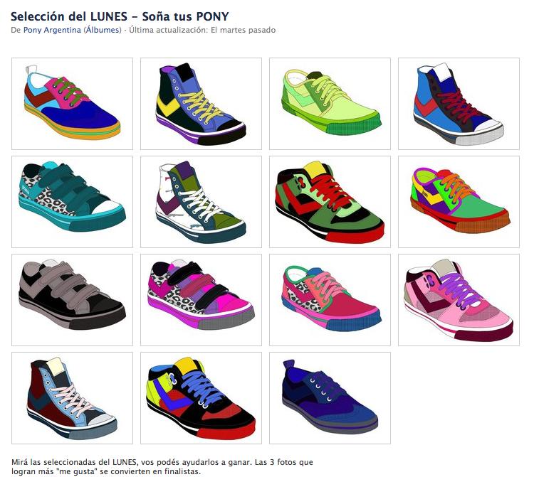 Galería dentro de Facebook con las zapatillas seleccionadas de un día de la Feria.
