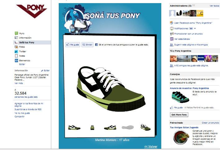 Aplicación en Facebook desarrollada para que todos los visitantes que soñaron sus Pony las puedan ver desde su casa.