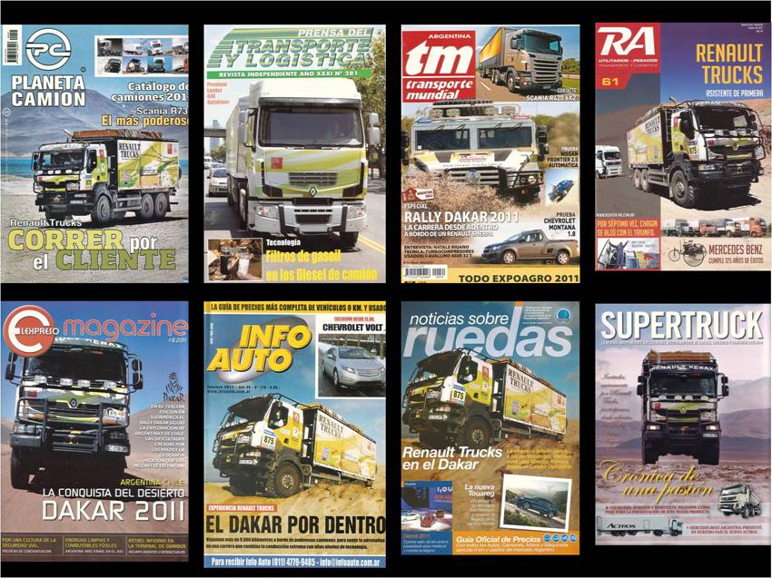 Muestra miniatura de las tapas de Renault Trucks en las revistas especializadas.