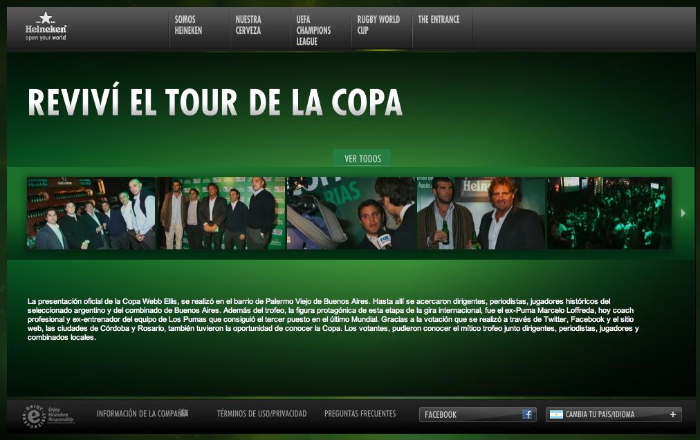 Sección en el sitio corporativo de HKN con fotos de los tres eventos.