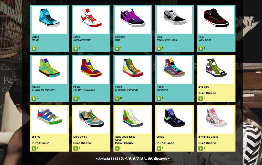 Galería de zapatillas creadas online.