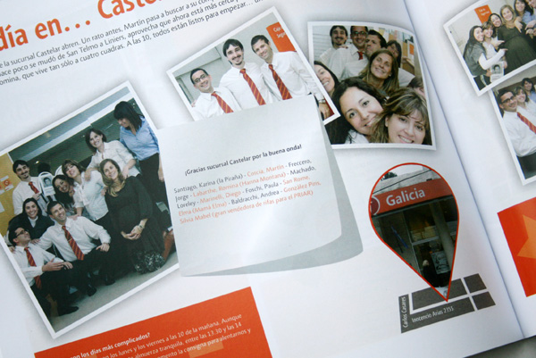 Doble página interior sobre Sucursal Castelar.