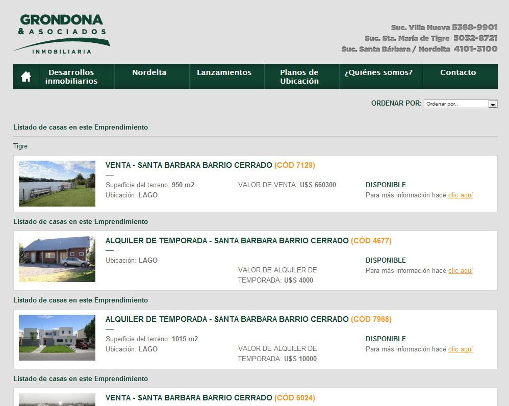 Listado de propiedades.