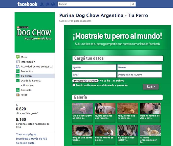 Tab Tu Perro, donde los usuarios pueden subir la foto de su mascota.
