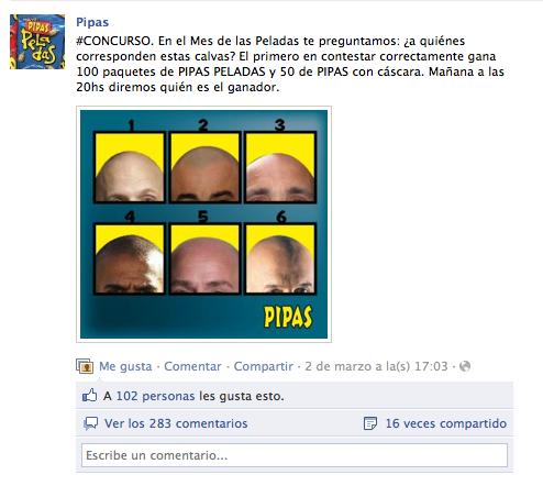 Detalle del concurso lanzamiento de las Pipas peladas.