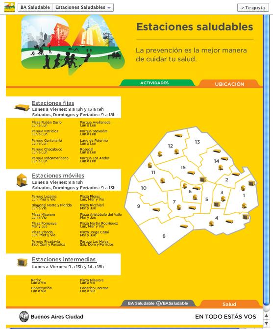 Tab con mapa dinámico de Estaciones Saludables. ¡Encontrá la que está más cerca de tu casa!