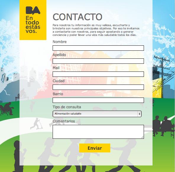 Tab Formulario de Contacto.