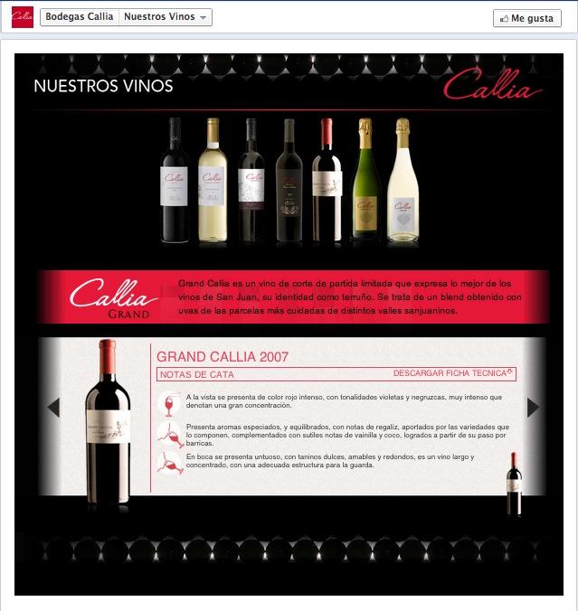 Detalle de un vino en el tab Nuestros Vinos.