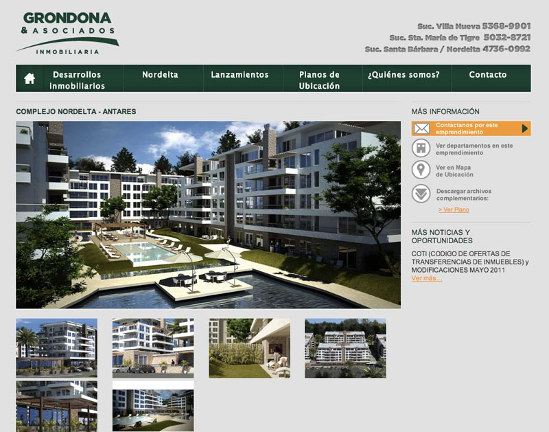Landing page de destino de baners de Antares dentro de la web de Grondona.