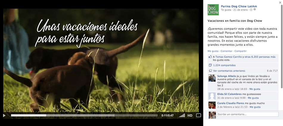 Video publicado en el fanpage de DogChow.