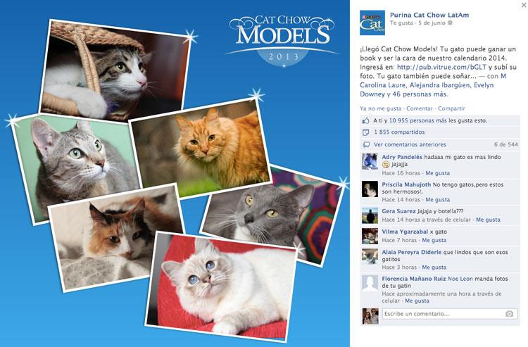 Posteo invitación para participar en la app de CatChow.
