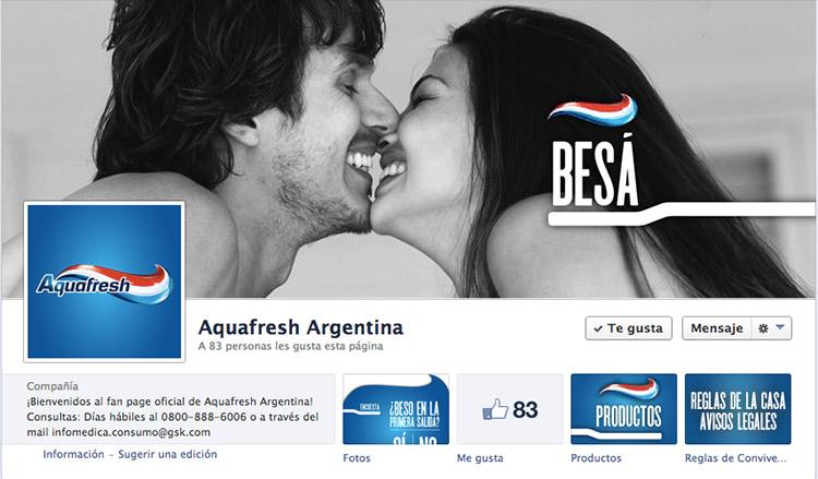 Perfil de Facebook de Aquafresh.