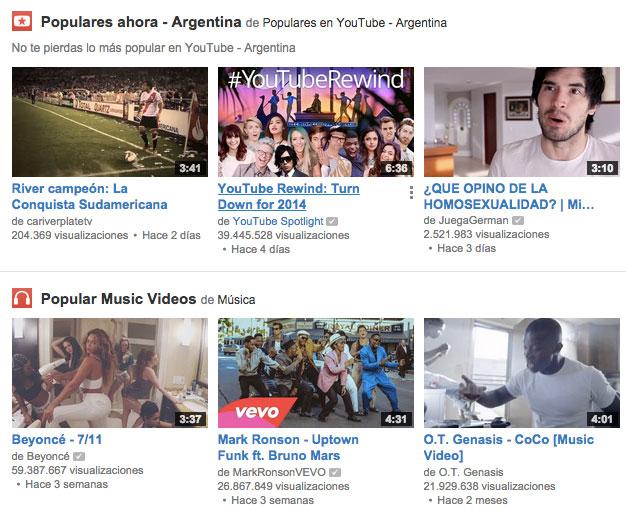 Recomendación de videos más vistos en Argentina en YouTube.