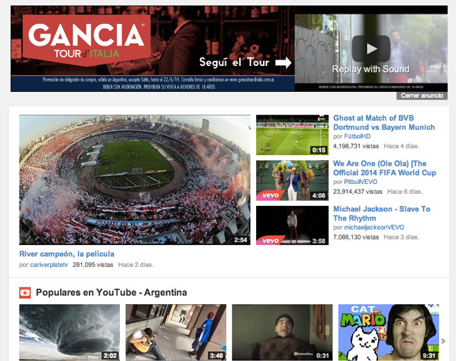 Recomendación en el home de YouTube como video más popular de Argentina.