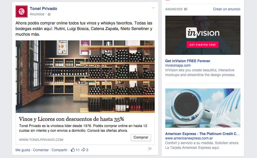 Ejemplo de anuncio con audiencias segmentadas en red social Facebook.
