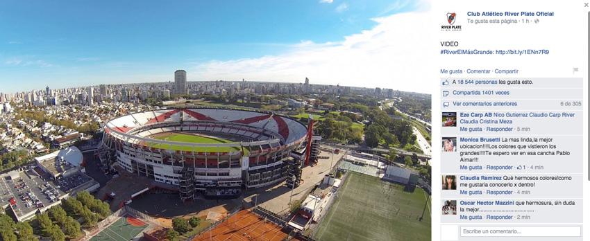 Posteo oficial del Club Atlético River Plate en Facebook el día del lanzamiento.