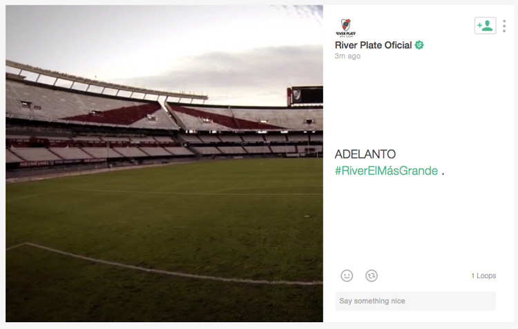 Adelanto exclusivo del video a través del perfil oficial de River en la red social Vine.