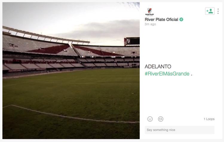 Adelanto exclusivo del video a través del perfil oficial de River en la red social Vine.