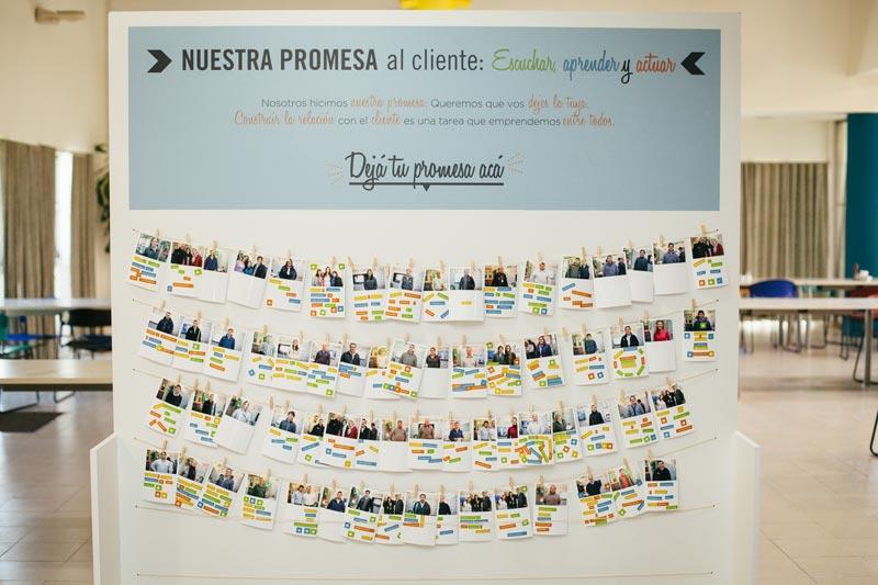 El muro donde expusimos todas las promesas de nuestros clientes.