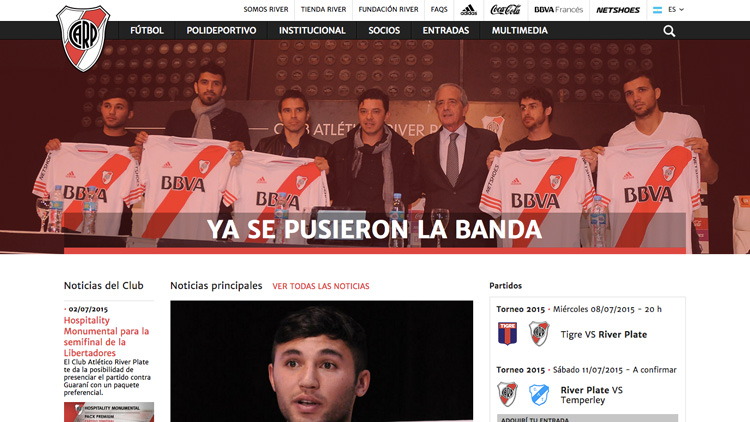 Primer home page del sitio con la presentación de los refuerzos 2015.