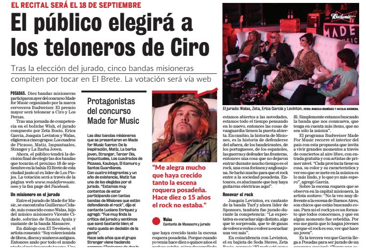 Nota de prensa en diario El Territorio, de Posadas.