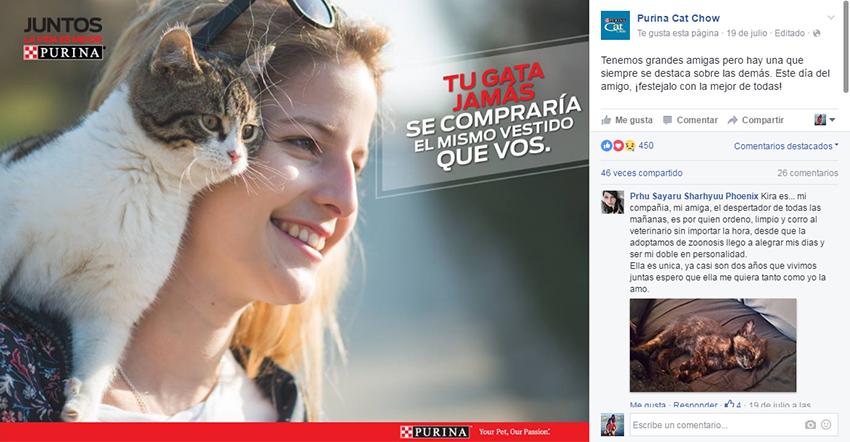 Posteo en el fanpage de Facebook de Purina CatChow.