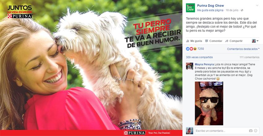 Posteo en el fanpage de Facebook de Purina DogChow.