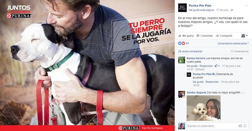 Posteo en el fanpage de Facebook de Purina ProPlan.